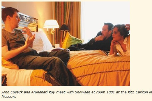 John Cusack and Arundhati Roy meet Snowden in Moscow